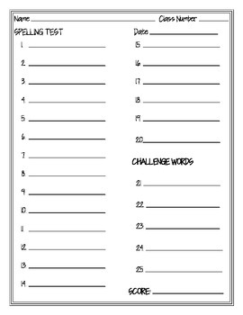 Spelling Test Paper 20 Questions with Challenge