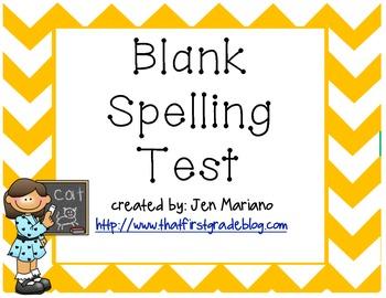 Spelling Test Paper (Blank)