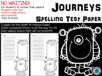 Spelling Test Paper ~ Journeys ~ Monsters!