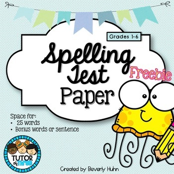 Spelling Test Paper - up to 25 Words