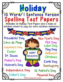 Spelling Test Papers for HOLIDAYS: Primary Grades (10 Word