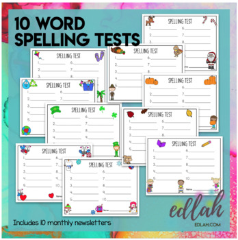 Spelling Test Sheets (10 Word Test)