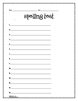 Spelling Test Stationary