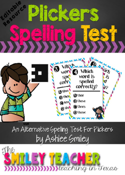 Spelling Test Task Cards- Editable and Plickers Friendly