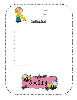Spelling Test Template For 10 Words