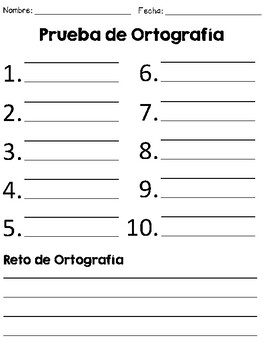 Spelling Test Template in Spanish/ Prueba de Ortografia