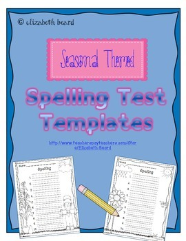 Spelling Test Templates: Seasonal Themed