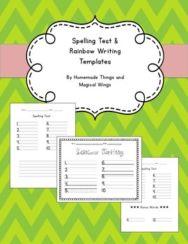 Spelling Test and Rainbow Writing Template (10 words)