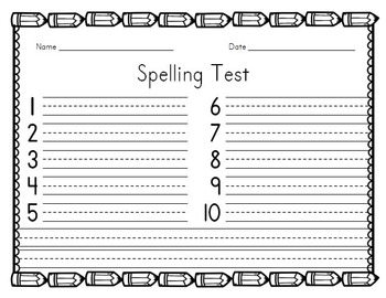 Spelling Test - pencils theme