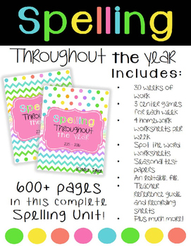 Spelling Throughout the Year Grades K-1