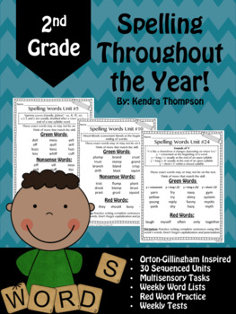 2nd Grade Spelling Throughout the Year Part 1! Orton-Gilli