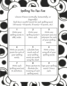Spelling Tic-Tac-Toe Choice Board