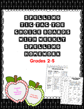 Spelling Tic-Tac-Toe Choice Boards