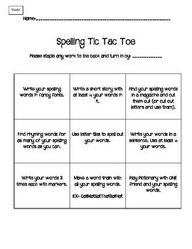 Spelling Tic Tac Toe FREEBIE