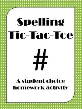 Spelling Tic-Tac-Toe Grid