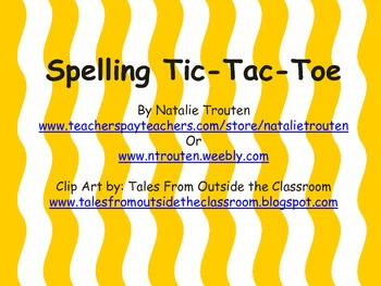 Spelling Tic-Tac-Toe for the year.