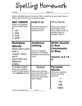 Spelling Tic-tac-toe (editable)
