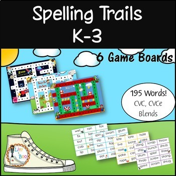 Spelling Trails (K-3) Phonics Game - 195 Words! 6 Differen