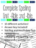 Spelling Unit -Able, and -Ible words with the Prefix -In