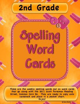 Spelling Word Cards  2nd Grade  Scott Foresman Reading Str