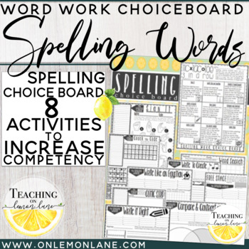 Spelling Word Choice Board Activity