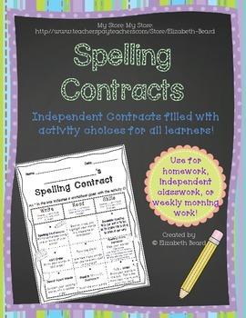 Spelling Word Contract: Homework or Class Activities to Pr