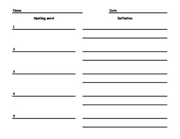 Spelling Word Definitions Paper - PRIMARY - 5 words
