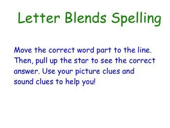 Spelling Word Ending Blends Smartboard Activity