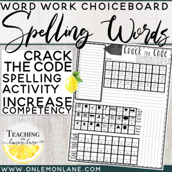 Spelling Word Practice Crack and Create the Super Secret Code