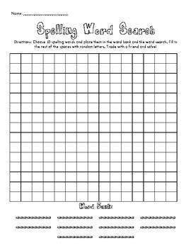 Spelling Worksheet - Word Search