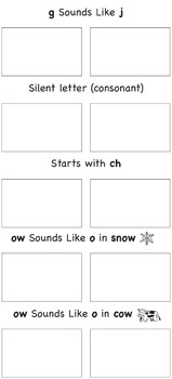 Spelling Word Sort Game 3