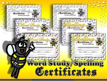 Spelling / Word Study Certificates - Awards - Stars Theme