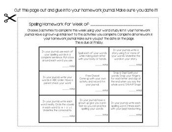 Spelling / Word Study Homework Board Version 2