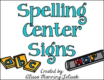 Spelling/Word Work Center Signs