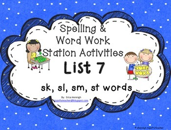 Spelling & Word Work Station Activities List 7 Blends:Sk,