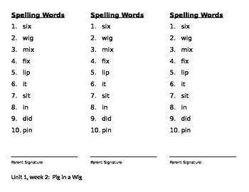 Spelling Words   Reading Street 2013 Pig in a Wig