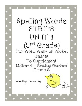 Spelling Words Strips for McGraw-Hill Wonders UNIT 1 Grade 3