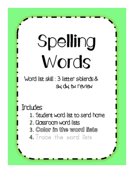 Spelling Words s-blends, sw, tw, dw review WEEK 1