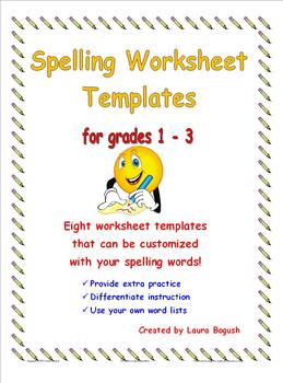 Spelling Worksheet Templates Pack! Customize with your wor