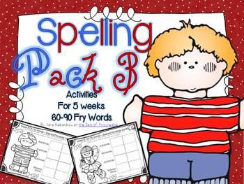 Spelling & Writing Activities 5 Weeks Pack 3 {Fry's 60-90