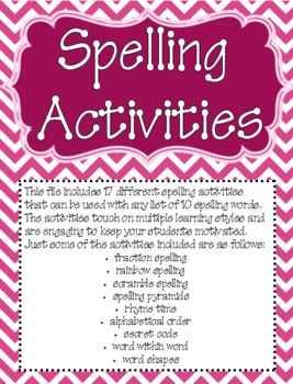 Spelling and Word Study Activities