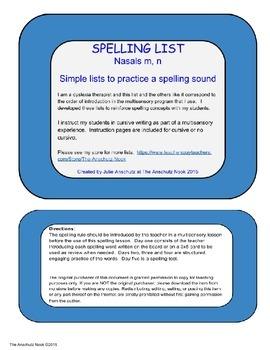 Spelling list m, n