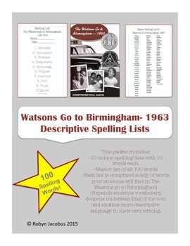 Spelling list set for The Watsons go to Birmingham 1963