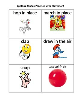 Spelling practice cards with movement