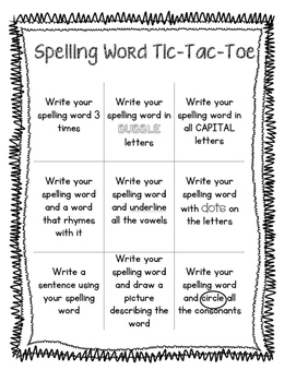 Spelling word review games