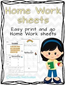 Spelling words, Word Work - worksheets