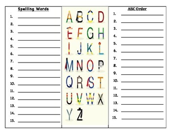 Spelling  words and ABC order sheet