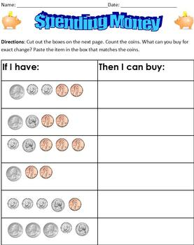 Spending Money; Special Ed Life Skills Math; Matching Coin