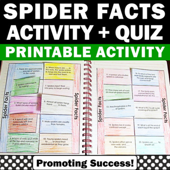 Spiders Facts Halloween Interactive Notebook for Science C