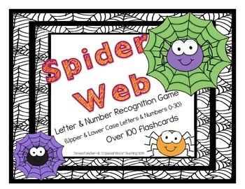Spider Game- Letter {upper & lower case}& Number {1-30} Re